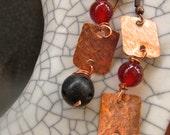Drop Gemstone Earrings w/ Hammered Copper-Long Copper Earrings w/ Stones-Birthstone Earrings -Mother's Day Gift Idea-Black Lavastone Earring