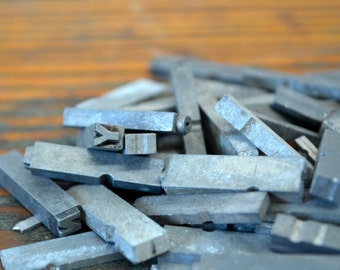 Ships Free - One quarter pound assorted metal letterpress type - Vintage letterpress metal type collection