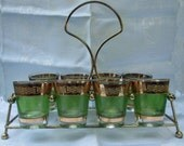 Culver Starlyte Vintage Green and Gold Shot Glasses and Carrier Caddy - Mad Men - Set of 8 - Shipping Included