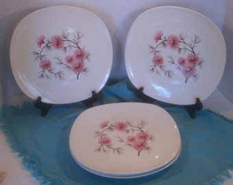 Edwin Knowles - Coral Pine Pattern - Criterion Shape - Dinner Plates - Set of 6