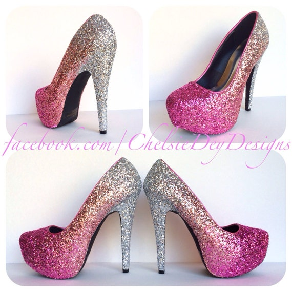 Glitter High Heels Hot Pink Pumps Light Pink Silver Ombre