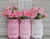 Painted Mason Jar Vases - Pink Ombre - Set of 3