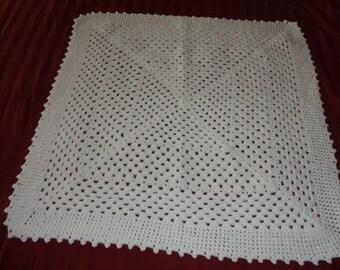 Crochet Baby Blanket / Handmade New Baby Blanket / Crocheted Cute Afghan / Baby Shower Gift / White Baby Cover