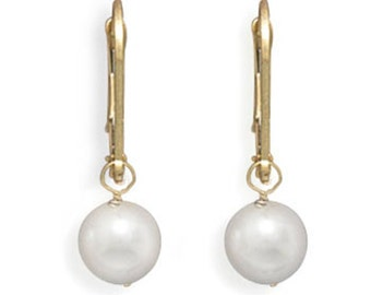 Cultured Akoya Pearl Drop Earrings with Yellow Gold Lever Backs Pearl Accessory Jewelry