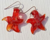Earrings drop silver plated with red glass starfish with gold sparkle