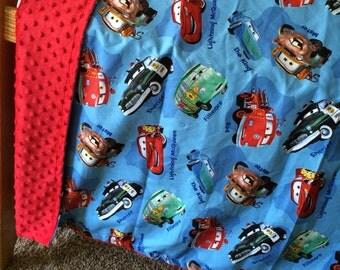 Cars minky toddler blanket.