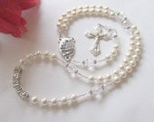 Personalized Swarovski Pearl and Crystal Guardian Angel Rosary