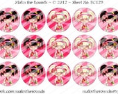 Kawaii Blonde and Brunette Girls, 1 inch Circle Bottle Cap Image, 4x6 and 8.5x11 Digital Collage Sheet, Instant Download