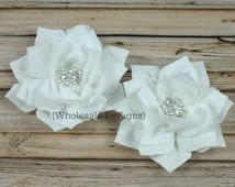 White Satin Flowers - Kanzashi Chiffon Embellished Layered Flower - Poinsettia Star Rhinestone Center