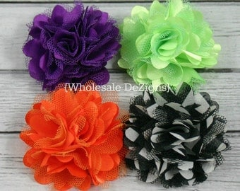 "Halloween Satin and Tulle Mini Rosette Flower Puffs 2"" - Orange, Purple, Lime, and Black and White Chevron"