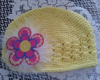 Childs Yellow Hand Decorated Chemo Hat, Chemo Yellow Hat with Sequin Flower and Maribou Puff
