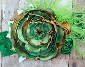 St. Patricks' Day, St. Patty's, Green and gold, Toddler Headband, Girls Headband, Singed Satin Flower, OTT, Photography Prop