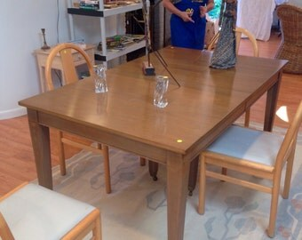 Vintage rectangle dining table straight lines transitionsl