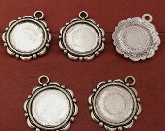 50pcs 14mm Antique silver Round Cameo Setting Charm