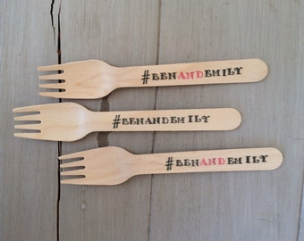 Hashtag # Wedding, Birthday or Special Event Wooden Ice Cream Party Spoons or Forks Silverware (20)