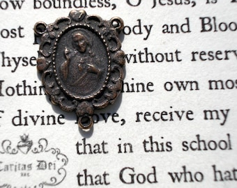 """Sacred Heart of Jesus Center - 1"""" - Rosary Center - BRONZE - Made in the USA  (R80)"""
