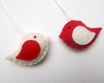 Little bird ornaments - set of 2 - felt ornaments - Valentine's day/Birthday/Christmas/Baby/It's a Girl/Housewarming home decor