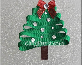 Christmas Tree Hair Clip, Christmas Hair Bow, Christmas Hair Clip, Tree Hair Clip, Ribbon Sculpture