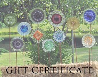 GIFT CERTIFICATE for The Glass Lotus -Repurposed Glass Garden Art