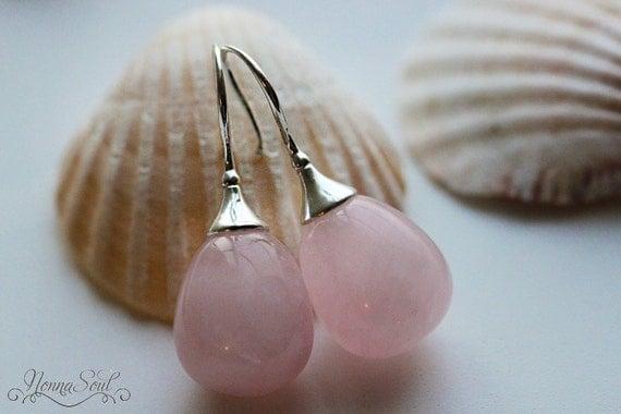 Rose Earrings Etsy Rose Quartz Earrings on