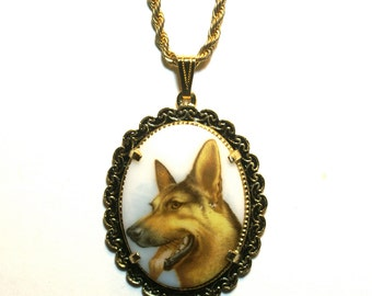 German Shepherd Dog Necklace Vintage Glass Cabochon Upcycled Pendant Gold Tone Chain