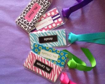 Personalized Bookmarks - zebra book marks, leopard bookmarks, polka dots or stripes bookmarks
