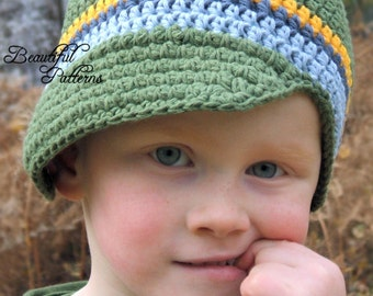 Crochet Hat Pattern Newsboy Pattern Visor Beanie Visor Hat Crochet Pattern Four Stripe PDF 310 Newborn to Preteen  Instant Download