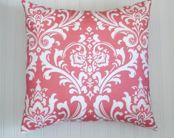 Pillow Covers Coral Pillow .One Pillow Cover 18 X 18. Decorative Throw Pillows. Accent Pillow Coral Pillows Covers. Fabric front and back .
