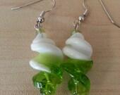 Green and White Swirl Glass Beaded Dangle Earrings