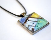 One Inch Square Pendant with Tray Necklace - Original Photography - Packard Plant - Detroit - Michigan - Windows - Blue - Yellow - Green