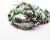 Ruby Zoisite Rondelles, Beads, Micro Faceted, aaagems, 2-3mm, Half Strand, 7.5 inches