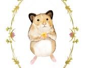 Hamster Illustration Art Print with Decorative Border
