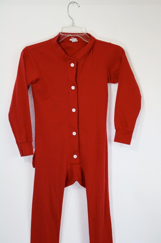 Vintage Christmas Red Kids Drop Seat Long Johns Long Underwear