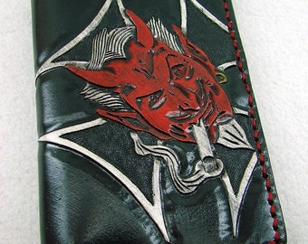 Small Cow leather wallet style biker red devil