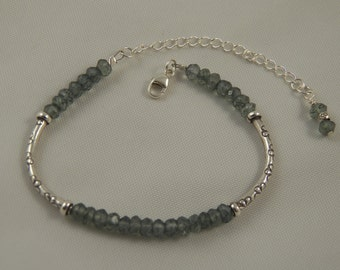 Sleek Chic Green Mystic Quartz and Hill Tribe Silver Beaded Bangle Bracelet - All Sterling Silver