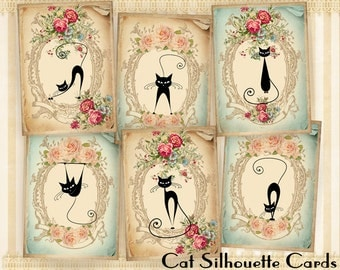 Cat silhouette Greeting cards Digital backgrounds Gift tags Printable cards on Digital collage sheet for Paper craft - CAT SILHOUETTE CARDS