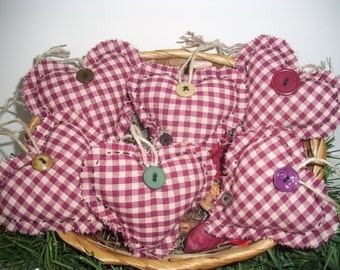 FABRIC HEARTS, Handmade, Primitive Country Decor,  Cottage Chic, Home Decor, Home and Living, Scented, Unscented, Red, Party Decor, Love