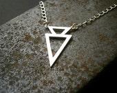 Two Arrow Silver Necklace, Modern Geometric, Triangle, Handmade Artisan by Pepa Moyano