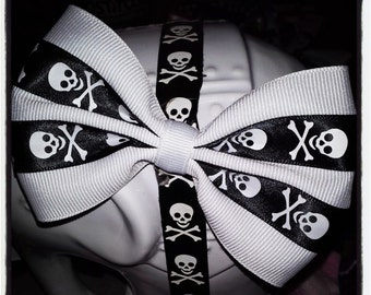 White Hair Bow with Black and White Skull and Crossbones Double Stripe