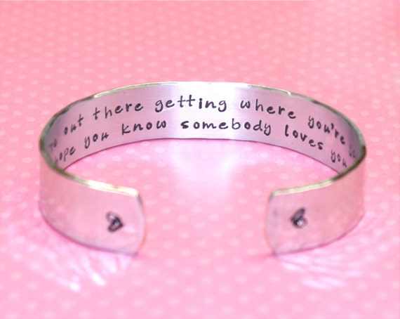 Graduation Gift | Promotion Gift | Friend Gift | Goodbye Gift | While you're out there... Custom Hand Stamped Cuff Bracelet by Korena Loves