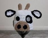 Crochet 100% Cotton Cow Hat Newborn 0-3 months