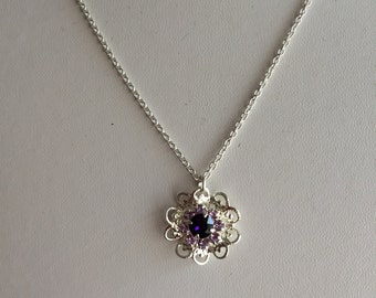 Sterling Silver  Necklace with Swarovski Flower.
