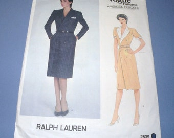 VOGUE American Designer 2839 Sz 8 RALPH LAUREN Dress pattern uncut