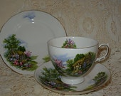 Royal Vale Bone China England Country Cottage Garden Tea Cup Saucer & Small Dessert Plate