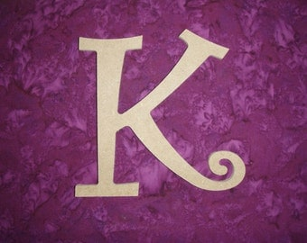 "Unfinished Wood Letter K Wooden MDF Paintable Letters 12"" Inch Tall Curls"