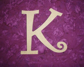 "Unfinished Wood Letter K Wooden MDF Paintable Letters 6"" Inch Tall Curls"