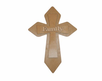Unfinished Wood Cross Wooden Family Stacked Crosses Part MLC11-Family