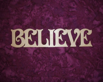 Believe Unfinished Wood Cut Out Connected Wood Letters 7.75 x 1.75 inch