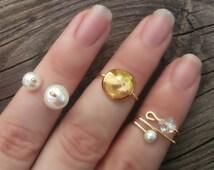 Gold Midi Ring Set, Pearl Stacking Rings, Set of Three, Above Knuckle Rings, Gold Knuckle Ring Set