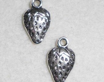 Silver Food Strawberry Charms